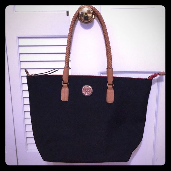 251fb570bc Tommy Hilfiger tote black canvas with camel tone. M_5bef1824a5d7c61a6a1a1524